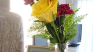 花のあるリビング